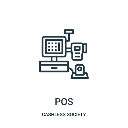 pos icon vector from cashless society collection. Thin line pos outline icon vector illustration. Linear symbol for use on web and mobile apps, logo, print media.