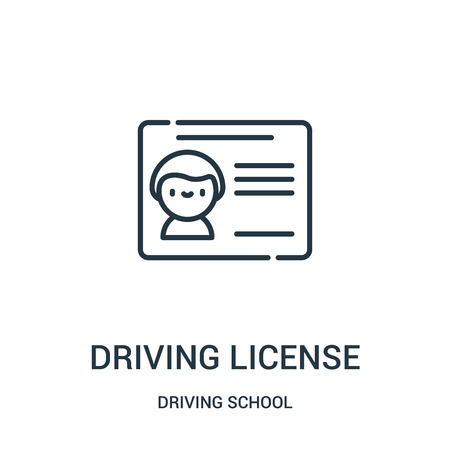driving license icon vector from driving school collection. Thin line driving license outline icon vector illustration. Linear symbol for use on web and mobile apps, logo, print media.
