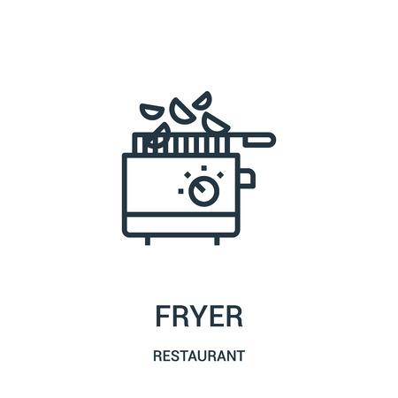 Friteuse-Symbolvektor aus der Restaurantsammlung. Dünne Linie Friteuse Umriss Symbol Vektor-Illustration. Lineares Symbol für die Verwendung in Web- und mobilen Apps, Logo, Printmedien.