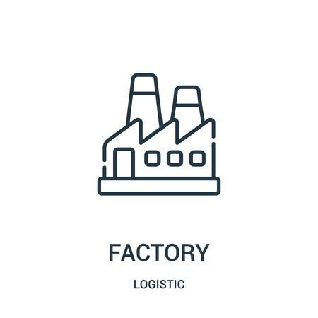 factory icon vector from logistic collection. Thin line factory outline icon vector illustration. Linear symbol for use on web and mobile apps, logo, print media.