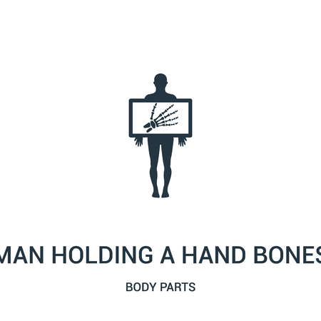 man holding a hand bones x ray image icon vector from body parts collection. Thin line man holding a hand bones x ray image outline icon vector illustration. Linear symbol for use on web and mobile