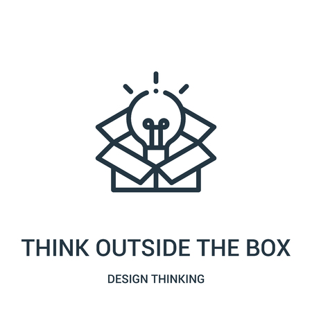 think outside the box icon vector from design thinking collection. Thin line think outside the box outline icon vector illustration. Linear symbol for use on web and mobile apps, logo, print media. Illustration