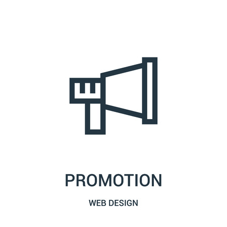 promotion icon vector from web design collection. Thin line promotion outline icon vector illustration. Linear symbol for use on web and mobile apps, logo, print media.