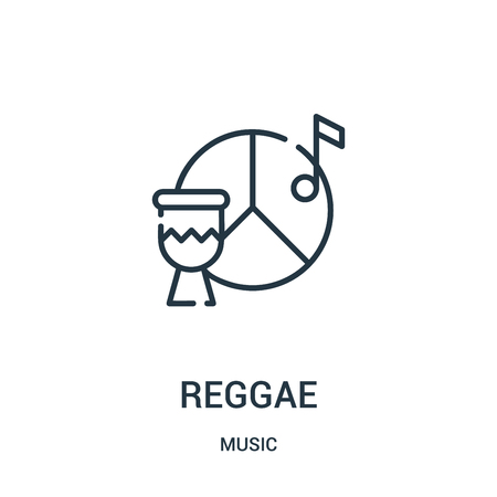 reggae icon vector from music collection. Thin line reggae outline icon vector illustration. Linear symbol for use on web and mobile apps, logo, print media.