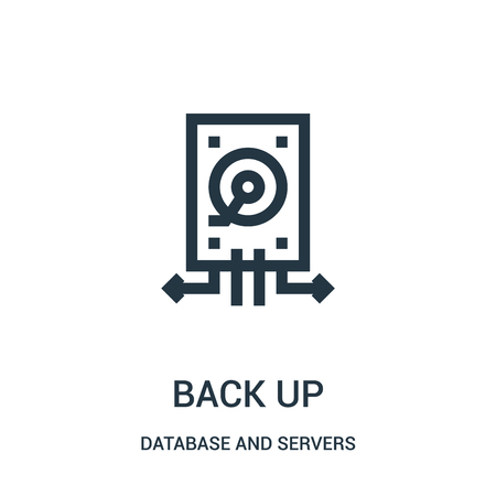 back up icon vector from database and servers collection. Thin line back up outline icon vector illustration. Linear symbol for use on web and mobile apps, logo, print media.
