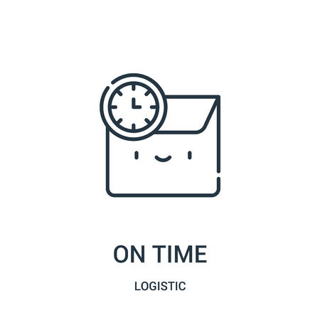 on time icon vector from logistic collection. Thin line on time outline icon vector illustration. Linear symbol for use on web and mobile apps, logo, print media.