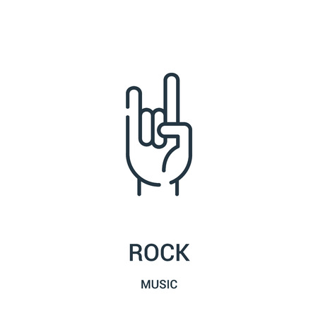 rock icon vector from music collection. Thin line rock outline icon vector illustration. Linear symbol for use on web and mobile apps, logo, print media.