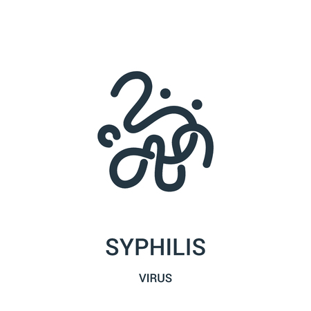 syphilis icon vector from virus collection. Thin line syphilis outline icon vector illustration. Linear symbol for use on web and mobile apps, logo, print media.