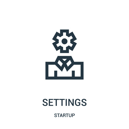 settings icon vector from startup collection. Thin line settings outline icon vector illustration. Linear symbol for use on web and mobile apps, logo, print media.