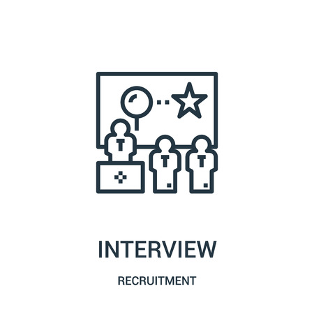 interview icon vector from recruitment collection. Thin line interview outline icon vector illustration. Linear symbol for use on web and mobile apps, logo, print media. Ilustração