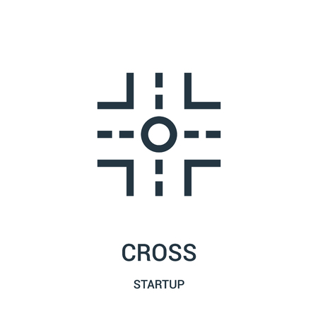 cross icon vector from startup collection. Thin line cross outline icon vector illustration. Linear symbol for use on web and mobile apps, logo, print media.