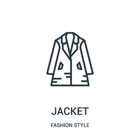 jacket icon vector from fashion style collection. Thin line jacket outline icon vector illustration. Linear symbol for use on web and mobile apps, logo, print media. Ilustração