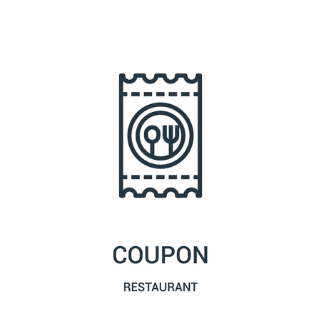 coupon icon vector from restaurant collection. Thin line coupon outline icon vector illustration. Linear symbol for use on web and mobile apps, logo, print media.