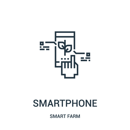 smartphone icon vector from smart farm collection. Thin line smartphone outline icon vector illustration. Linear symbol for use on web and mobile apps, logo, print media.