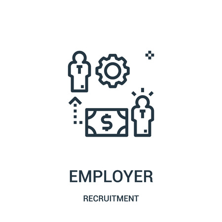 employer icon vector from recruitment collection. Thin line employer outline icon vector illustration. Linear symbol for use on web and mobile apps, logo, print media.