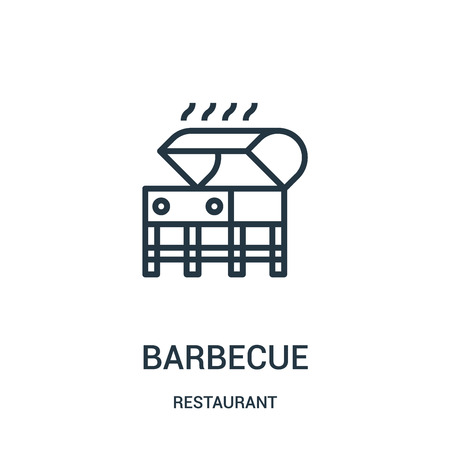 barbecue icon vector from restaurant collection. Thin line barbecue outline icon vector illustration. Linear symbol for use on web and mobile apps, logo, print media. Ilustração