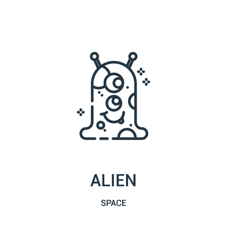 alien icon vector from space collection. Thin line alien outline icon vector illustration. Linear symbol for use on web and mobile apps, logo, print media.