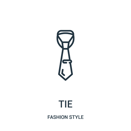 tie icon vector from fashion style collection. Thin line tie outline icon vector illustration. Linear symbol for use on web and mobile apps, logo, print media. Ilustração