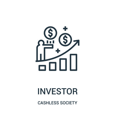 investor icon vector from cashless society collection. Thin line investor outline icon vector illustration. Linear symbol for use on web and mobile apps, logo, print media.