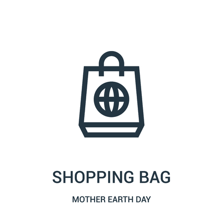 shopping bag icon vector from mother earth day collection. Thin line shopping bag outline icon vector illustration. Linear symbol for use on web and mobile apps, logo, print media.