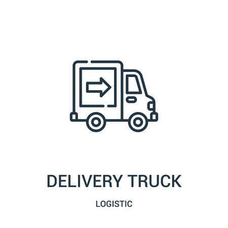 delivery truck icon vector from logistic collection. Thin line delivery truck outline icon vector illustration. Linear symbol for use on web and mobile apps, logo, print media.