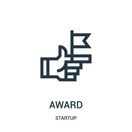 award icon vector from startup collection. Thin line award outline icon vector illustration. Linear symbol for use on web and mobile apps, logo, print media.