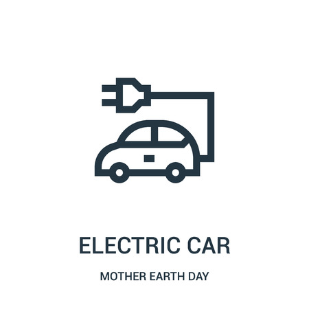 electric car icon vector from mother earth day collection. Thin line electric car outline icon vector illustration. Linear symbol for use on web and mobile apps, logo, print media.