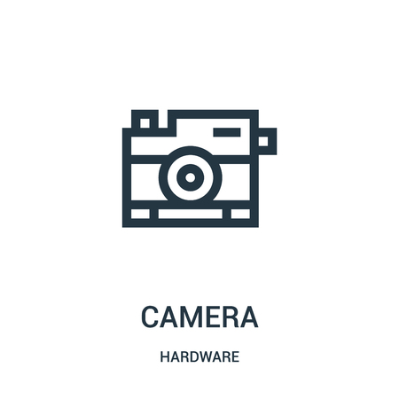 camera icon vector from hardware collection. Thin line camera outline icon vector illustration. Linear symbol for use on web and mobile apps, logo, print media. Ilustração