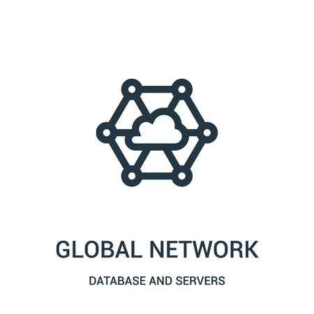 global network icon vector from database and servers collection. Thin line global network outline icon vector illustration. Linear symbol for use on web and mobile apps, logo, print media.
