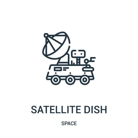 satellite dish icon vector from space collection. Thin line satellite dish outline icon vector illustration. Linear symbol for use on web and mobile apps, logo, print media.