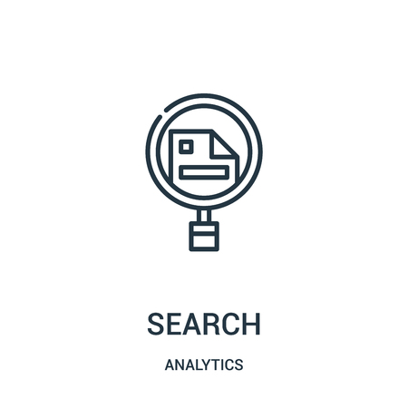 search icon vector from analytics collection. Thin line search outline icon vector illustration. Linear symbol for use on web and mobile apps, logo, print media.