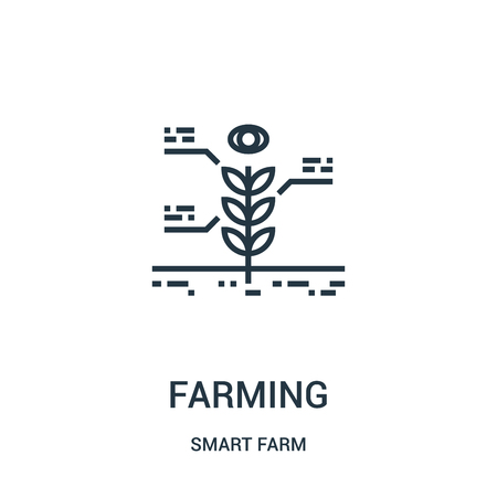 farming icon vector from smart farm collection. Thin line farming outline icon vector illustration. Linear symbol for use on web and mobile apps, logo, print media. Ilustração