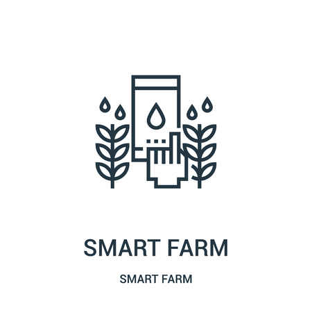 smart farm icon vector from smart farm collection. Thin line smart farm outline icon vector illustration. Linear symbol for use on web and mobile apps, logo, print media.