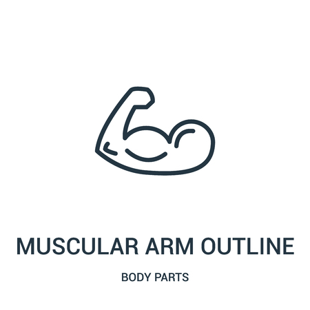 muscular arm outline icon vector from body parts collection. Thin line muscular arm outline outline icon vector illustration. Linear symbol for use on web and mobile apps, logo, print media.