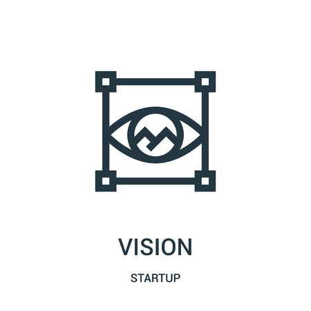 vision icon vector from startup collection. Thin line vision outline icon vector illustration. Linear symbol for use on web and mobile apps, logo, print media.