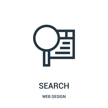 search icon vector from web design collection. Thin line search outline icon vector illustration. Linear symbol for use on web and mobile apps, logo, print media.