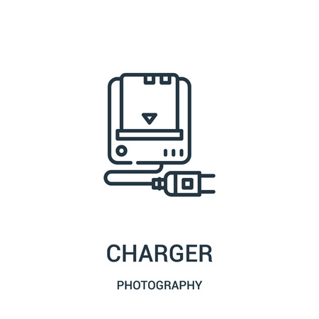 charger icon vector from photography collection. Thin line charger outline icon vector illustration. Linear symbol for use on web and mobile apps, logo, print media.