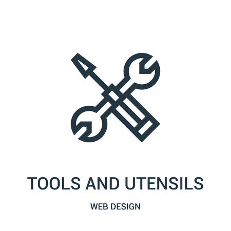 tools and utensils icon vector from web design collection. Thin line tools and utensils outline icon vector illustration. Linear symbol for use on web and mobile apps, logo, print media.
