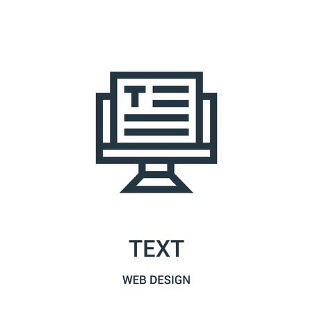 text icon vector from web design collection. Thin line text outline icon vector illustration. Linear symbol for use on web and mobile apps, logo, print media. Ilustração