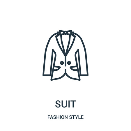 suit icon vector from fashion style collection. Thin line suit outline icon vector illustration. Linear symbol for use on web and mobile apps, logo, print media.