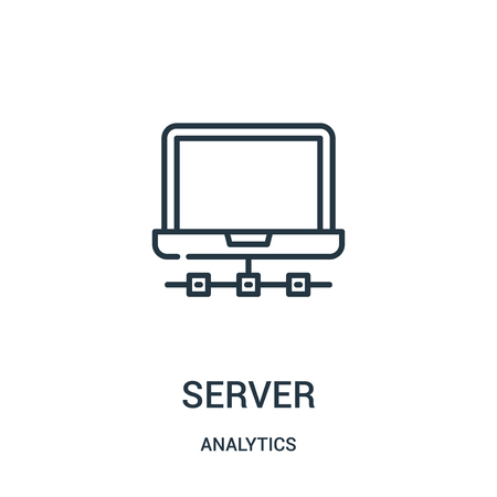 server icon vector from analytics collection. Thin line server outline icon vector illustration. Linear symbol for use on web and mobile apps, logo, print media.