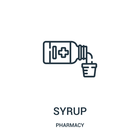 syrup icon vector from pharmacy collection. Thin line syrup outline icon vector illustration. Linear symbol for use on web and mobile apps, logo, print media. Ilustração