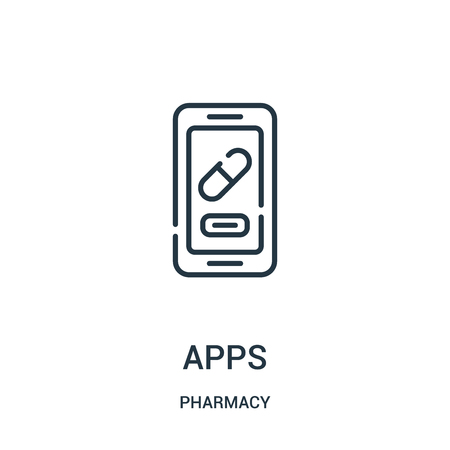 apps icon vector from pharmacy collection. Thin line apps outline icon vector illustration. Linear symbol for use on web and mobile apps, logo, print media.