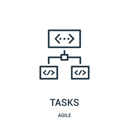 tasks icon vector from agile collection. Thin line tasks outline icon vector illustration. Linear symbol for use on web and mobile apps, logo, print media.