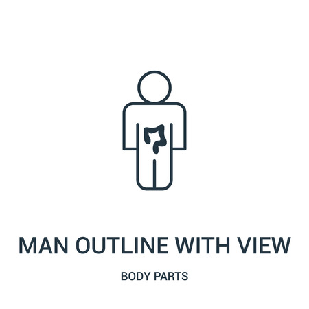 man outline with view of the intestine icon vector from body parts collection. Thin line man outline with view of the intestine outline icon vector illustration. Linear symbol for use on web and  Ilustrace