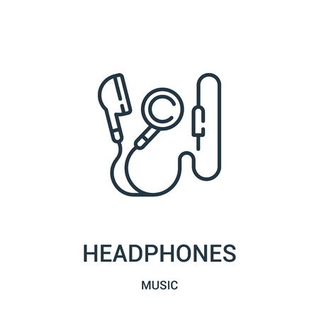 headphones icon vector from music collection. Thin line headphones outline icon vector illustration. Linear symbol for use on web and mobile apps, logo, print media.