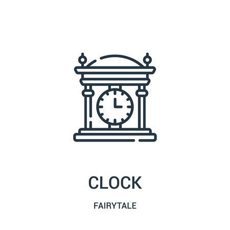 clock icon vector from fairytale collection. Thin line clock outline icon vector illustration. Linear symbol for use on web and mobile apps, logo, print media. Ilustração
