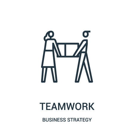 teamwork icon vector from business strategy collection. Thin line teamwork outline icon vector illustration. Linear symbol for use on web and mobile apps, logo, print media.