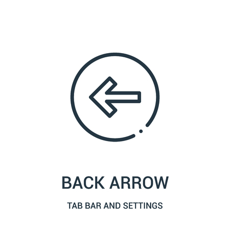 back arrow icon vector from tab bar and settings collection. Thin line back arrow outline icon vector illustration. Linear symbol for use on web and mobile apps, logo, print media.