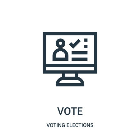 vote icon vector from voting elections collection. Thin line vote outline icon vector illustration. Linear symbol for use on web and mobile apps, logo, print media.
